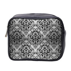 Damask1 Black Marble & Silver Brushed Metal (r) Mini Toiletries Bag (two Sides) by trendistuff