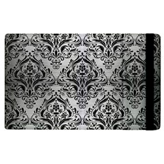 Damask1 Black Marble & Silver Brushed Metal (r) Apple Ipad 2 Flip Case by trendistuff