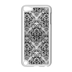 Damask1 Black Marble & Silver Brushed Metal (r) Apple Ipod Touch 5 Case (white) by trendistuff