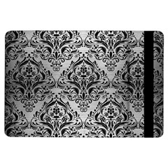 Damask1 Black Marble & Silver Brushed Metal (r) Apple Ipad Air Flip Case by trendistuff