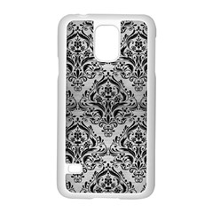 Damask1 Black Marble & Silver Brushed Metal (r) Samsung Galaxy S5 Case (white) by trendistuff