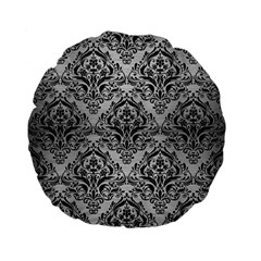 Damask1 Black Marble & Silver Brushed Metal (r) Standard 15  Premium Flano Round Cushion  by trendistuff