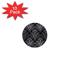 Damask1 Black Marble & Silver Brushed Metal 1  Mini Button (10 Pack)  by trendistuff