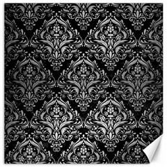 Damask1 Black Marble & Silver Brushed Metal Canvas 20  X 20  by trendistuff
