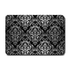 Damask1 Black Marble & Silver Brushed Metal Small Doormat by trendistuff