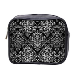 Damask1 Black Marble & Silver Brushed Metal Mini Toiletries Bag (two Sides) by trendistuff