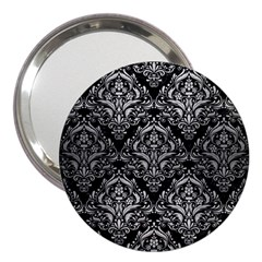 Damask1 Black Marble & Silver Brushed Metal 3  Handbag Mirror by trendistuff