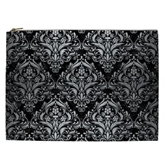 Damask1 Black Marble & Silver Brushed Metal Cosmetic Bag (xxl) by trendistuff