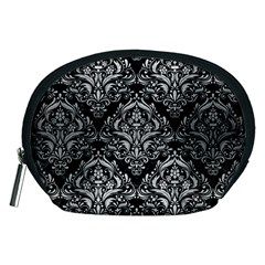 Damask1 Black Marble & Silver Brushed Metal Accessory Pouch (medium) by trendistuff
