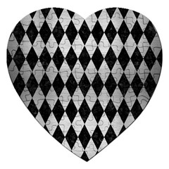 Diamond1 Black Marble & Silver Brushed Metal Jigsaw Puzzle (heart) by trendistuff