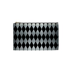 Diamond1 Black Marble & Silver Brushed Metal Cosmetic Bag (small) by trendistuff