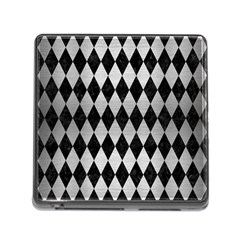 Diamond1 Black Marble & Silver Brushed Metal Memory Card Reader (square) by trendistuff