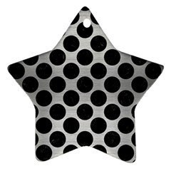 Circles2 Black Marble & Silver Brushed Metal (r) Ornament (star) by trendistuff