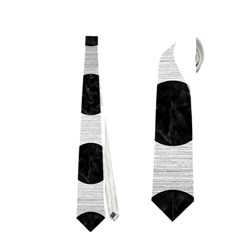 Circles2 Black Marble & Silver Brushed Metal (r) Necktie (two Side)