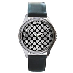Circles2 Black Marble & Silver Brushed Metal Round Metal Watch by trendistuff