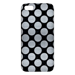 Circles2 Black Marble & Silver Brushed Metal Apple Iphone 5 Premium Hardshell Case by trendistuff