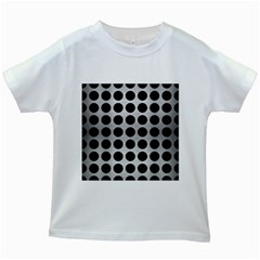 Circles1 Black Marble & Silver Brushed Metal (r) Kids White T Shirt