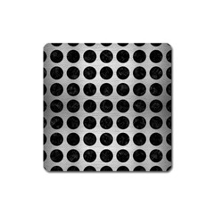Circles1 Black Marble & Silver Brushed Metal (r) Magnet (square) by trendistuff