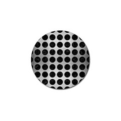 Circles1 Black Marble & Silver Brushed Metal (r) Golf Ball Marker (4 Pack)
