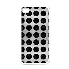 Circles1 Black Marble & Silver Brushed Metal (r) Apple Iphone 4 Case (white) by trendistuff