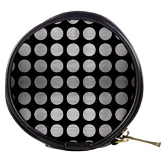 Circles1 Black Marble & Silver Brushed Metal Mini Makeup Bag