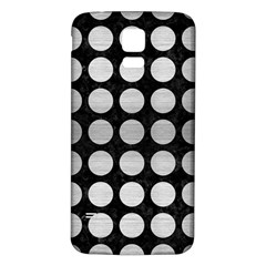 Circles1 Black Marble & Silver Brushed Metal Samsung Galaxy S5 Back Case (white) by trendistuff