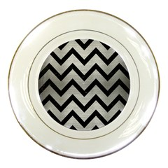 Chevron9 Black Marble & Silver Brushed Metal (r) Porcelain Plate by trendistuff
