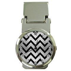 Chevron9 Black Marble & Silver Brushed Metal (r) Money Clip Watch by trendistuff