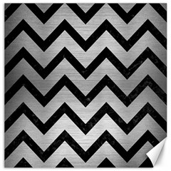 Chevron9 Black Marble & Silver Brushed Metal (r) Canvas 12  X 12  by trendistuff