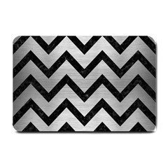 Chevron9 Black Marble & Silver Brushed Metal (r) Small Doormat by trendistuff