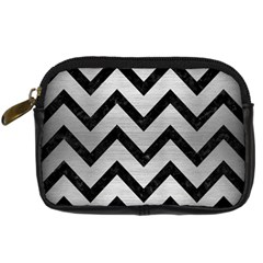 Chevron9 Black Marble & Silver Brushed Metal (r) Digital Camera Leather Case by trendistuff