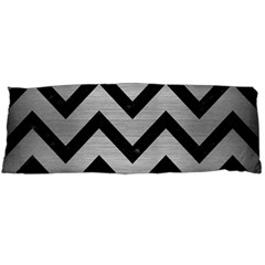 Chevron9 Black Marble & Silver Brushed Metal (r) Body Pillow Case Dakimakura (two Sides) by trendistuff