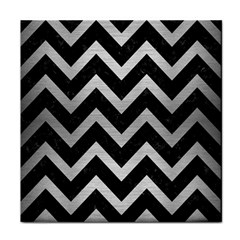 Chevron9 Black Marble & Silver Brushed Metal Tile Coaster by trendistuff