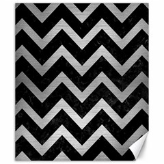 Chevron9 Black Marble & Silver Brushed Metal Canvas 20  X 24  by trendistuff