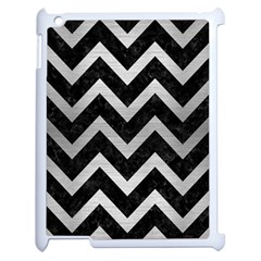 Chevron9 Black Marble & Silver Brushed Metal Apple Ipad 2 Case (white) by trendistuff