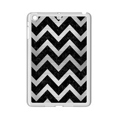 Chevron9 Black Marble & Silver Brushed Metal Apple Ipad Mini 2 Case (white) by trendistuff