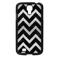 Chevron9 Black Marble & Silver Brushed Metal Samsung Galaxy S4 I9500/ I9505 Case (black) by trendistuff