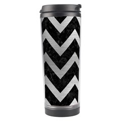Chevron9 Black Marble & Silver Brushed Metal Travel Tumbler by trendistuff