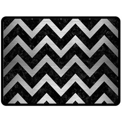 Chevron9 Black Marble & Silver Brushed Metal Double Sided Fleece Blanket (large)