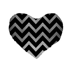 Chevron9 Black Marble & Silver Brushed Metal Standard 16  Premium Flano Heart Shape Cushion  by trendistuff