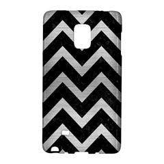Chevron9 Black Marble & Silver Brushed Metal Samsung Galaxy Note Edge Hardshell Case by trendistuff