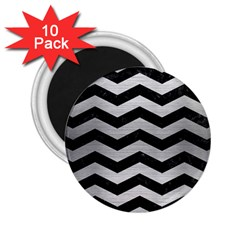 Chevron3 Black Marble & Silver Brushed Metal 2 25  Magnet (10 Pack) by trendistuff