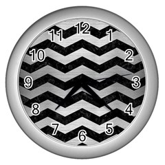 Chevron3 Black Marble & Silver Brushed Metal Wall Clock (silver) by trendistuff