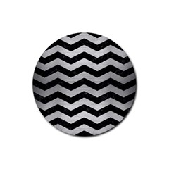 Chevron3 Black Marble & Silver Brushed Metal Rubber Coaster (round) by trendistuff