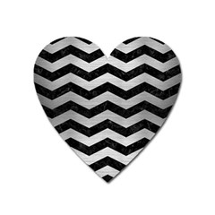 Chevron3 Black Marble & Silver Brushed Metal Magnet (heart) by trendistuff