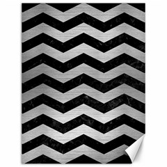 Chevron3 Black Marble & Silver Brushed Metal Canvas 12  X 16  by trendistuff