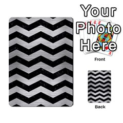 Chevron3 Black Marble & Silver Brushed Metal Multi Purpose Cards (rectangle) by trendistuff