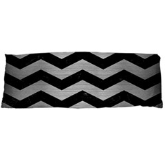 Chevron3 Black Marble & Silver Brushed Metal Body Pillow Case (dakimakura) by trendistuff