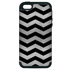 Chevron3 Black Marble & Silver Brushed Metal Apple Iphone 5 Hardshell Case (pc+silicone) by trendistuff