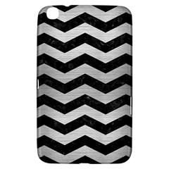 Chevron3 Black Marble & Silver Brushed Metal Samsung Galaxy Tab 3 (8 ) T3100 Hardshell Case  by trendistuff
